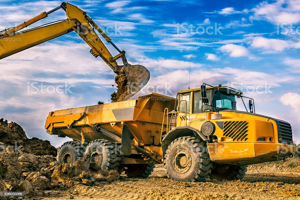Dump truck in highway construction S3, Poland stock photo