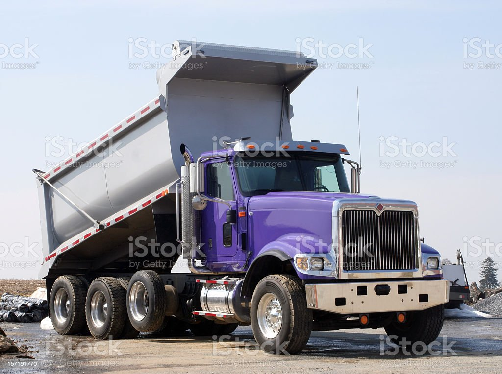 Dump Truck is Purple and Silver stock photo