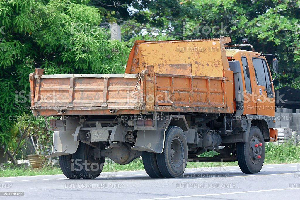 Dump truck of Provincial eletricity Authority of Thailand. stock photo
