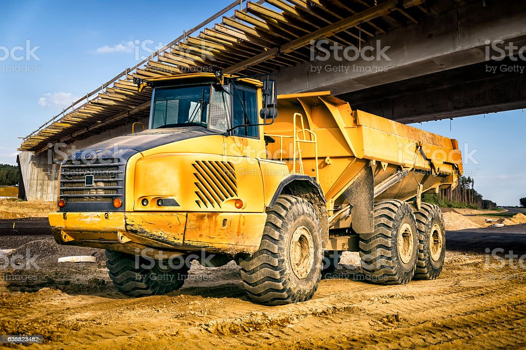 Dump truck on a new highway construction S3, Poland stock photo