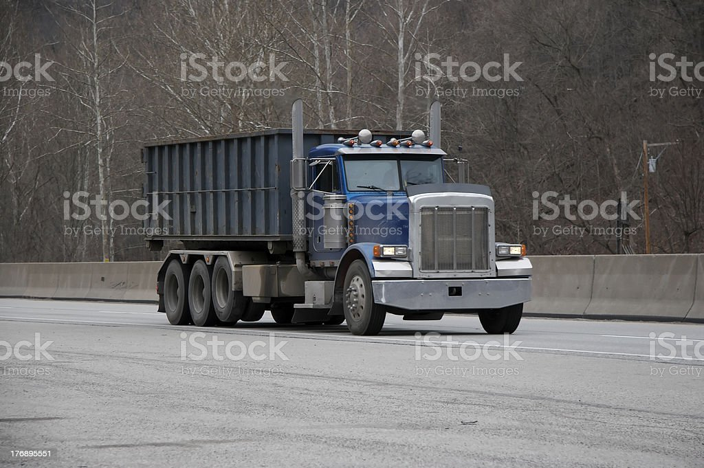 Dump Truck on the Highway stock photo