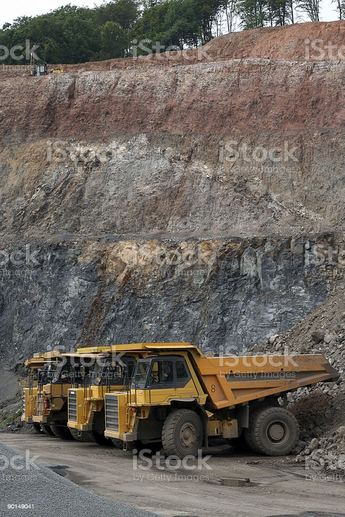 Dump Trucks in Quarry royalty-free stock photo