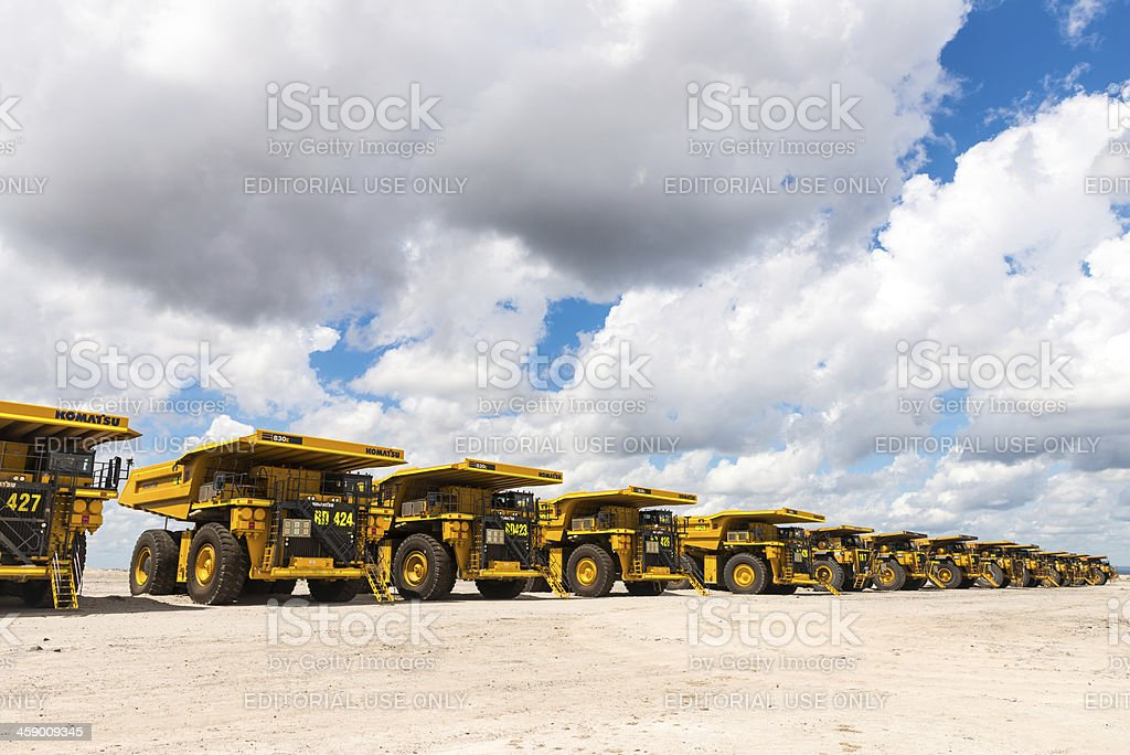 Dump Trucks Parked up due to recession royalty-free stock photo