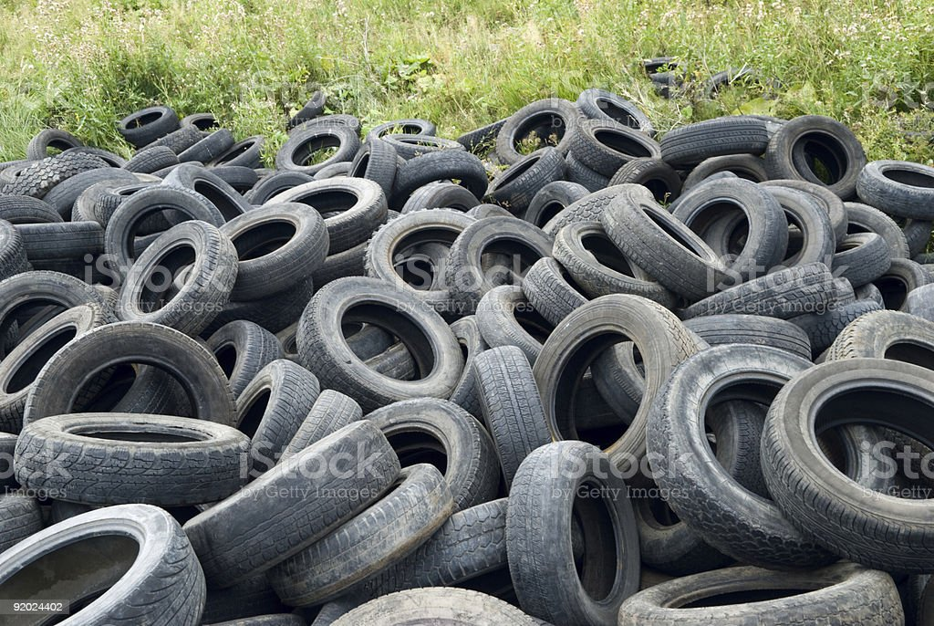 Dumped tires stock photo