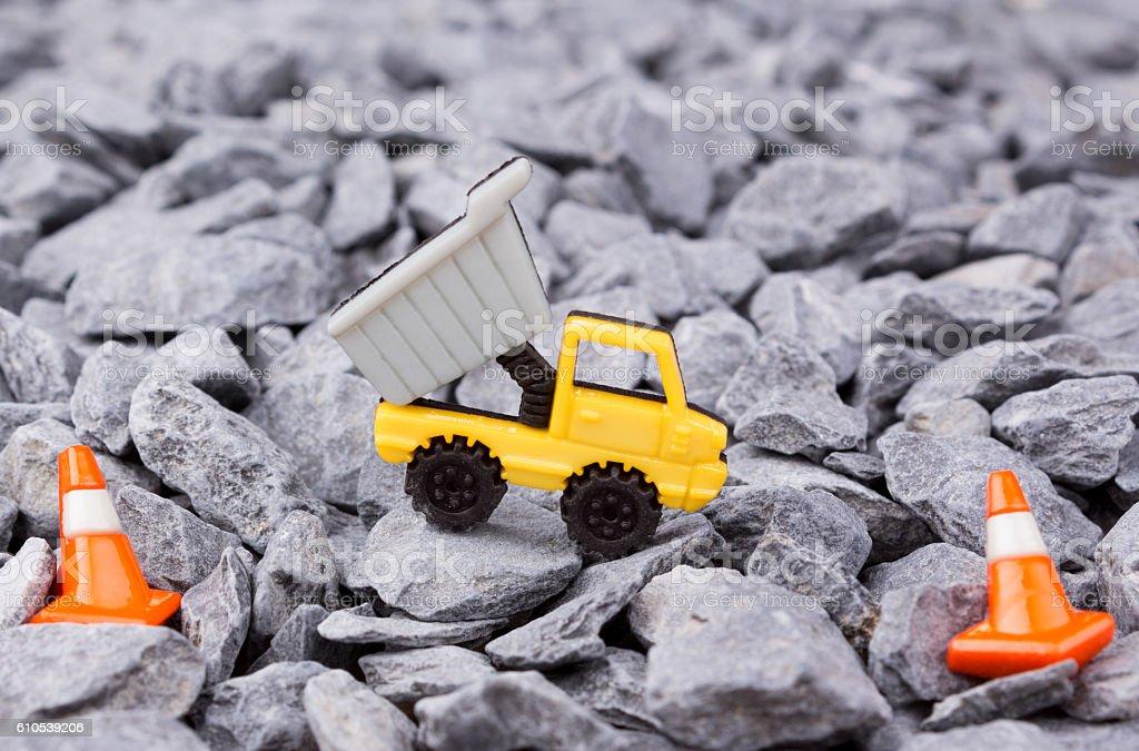 dumper track on pebbles stock photo