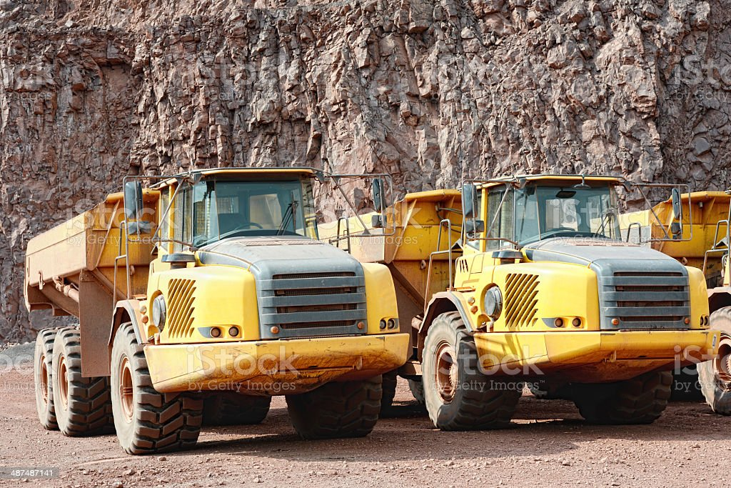 dumper truck in surface mine quarry royalty-free stock photo