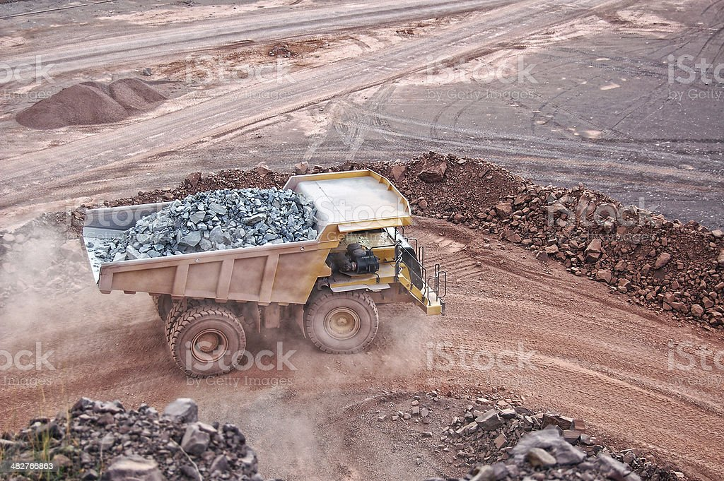 dumper truck on road in surface mine quarry royalty-free stock photo