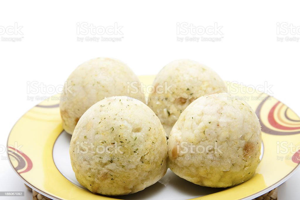 Dumpling cooked on plate stock photo