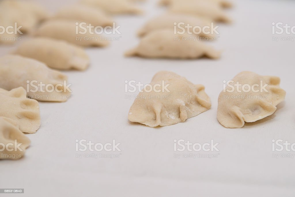 Dumplings filled with the filling to the brim. stock photo
