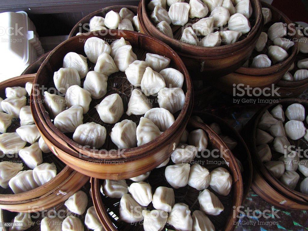 Dumplings in Baskets in Shanghai, China stock photo