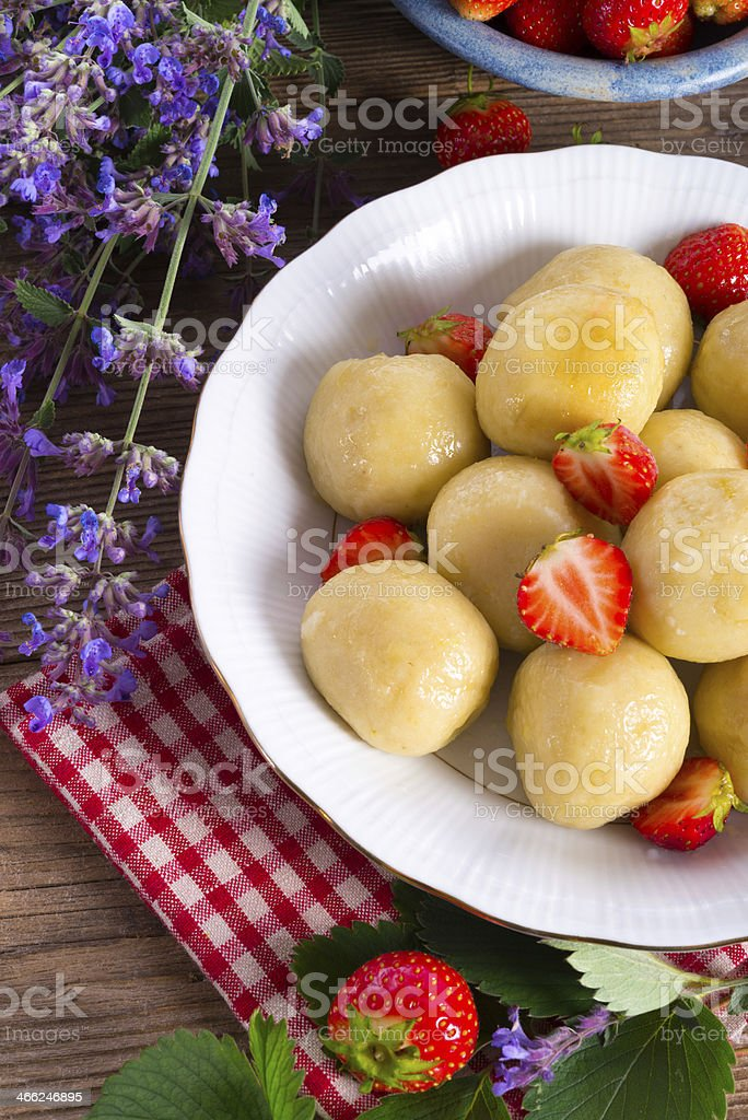 dumplings with strawberries royalty-free stock photo