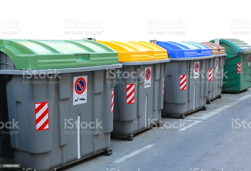 Dumpster for recycling stock photo