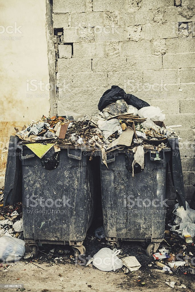 Dumpster full of garbage royalty-free stock photo