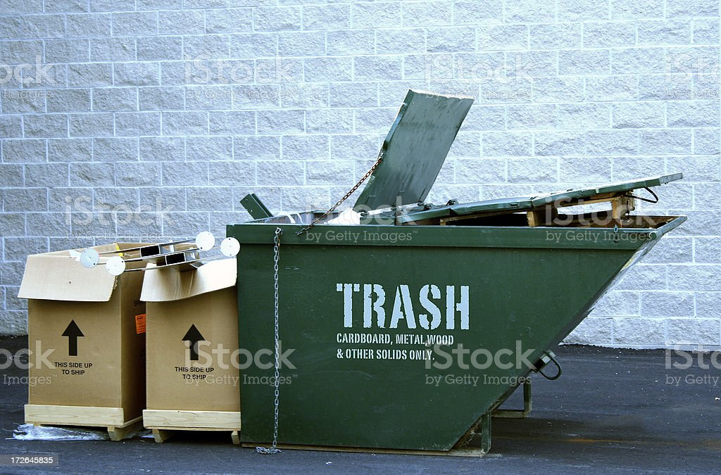 Dumpster with trash stock photo