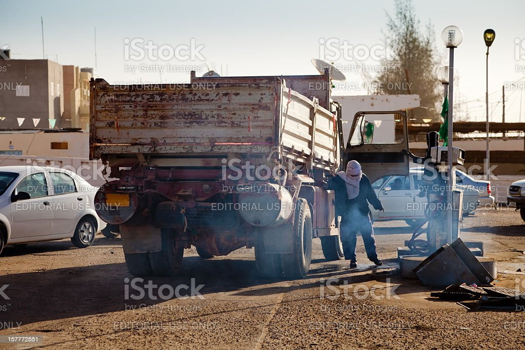 Dumptruck refill at urban gas station in Sabha, Libya royalty-free stock photo