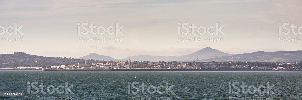 Dun Laoghaire and the Wicklow Mountains stock photo