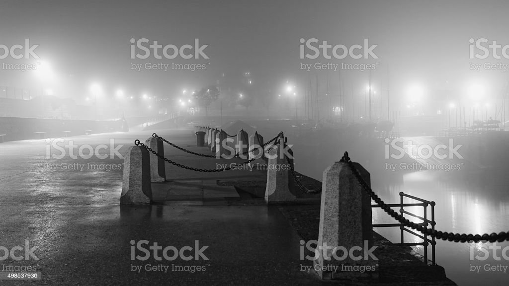 Dun Laoghaire Pier in a foggy night royalty-free stock photo