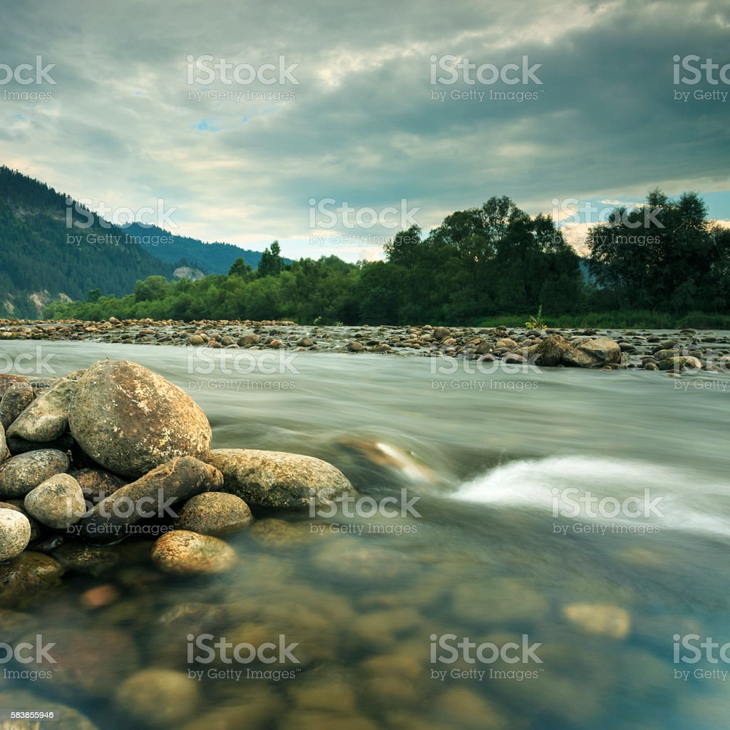 Dunajec River In South Poland stock photo