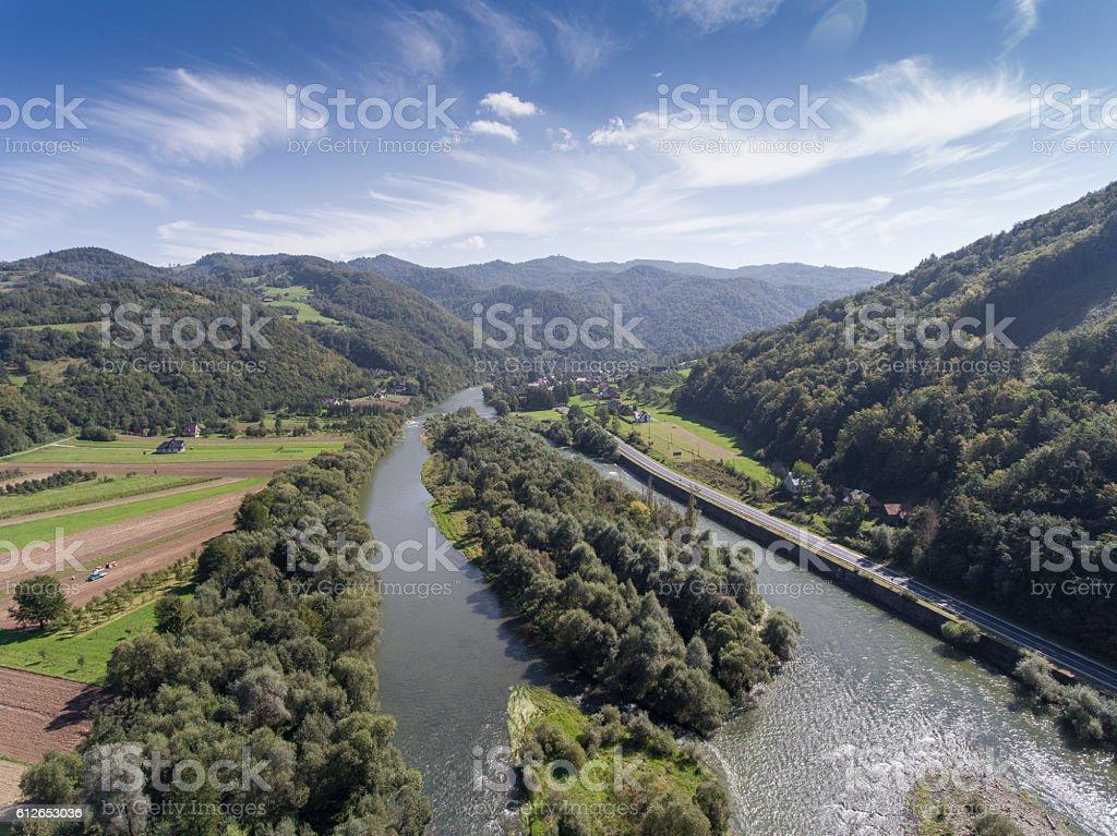 Dunajec river. Mountain landcsape at summer time in Poland stock photo