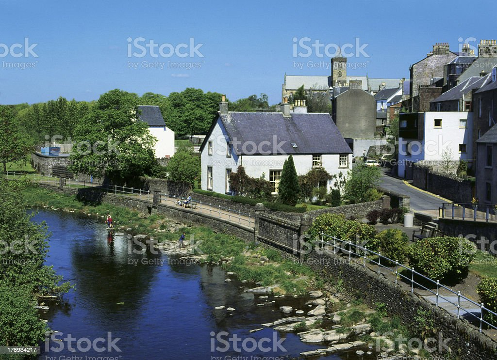 Dunblane Perthshire Scotland: Cathedral & Allan Water stock photo