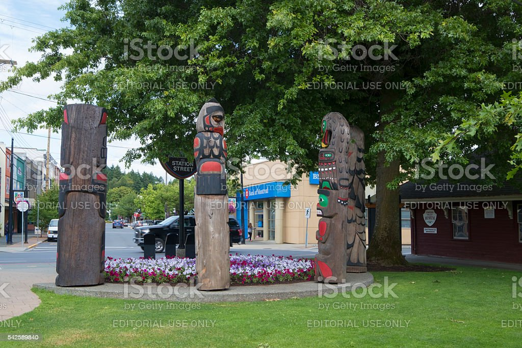 Duncan, British Columbia Street Scene and Totem Poles stock photo