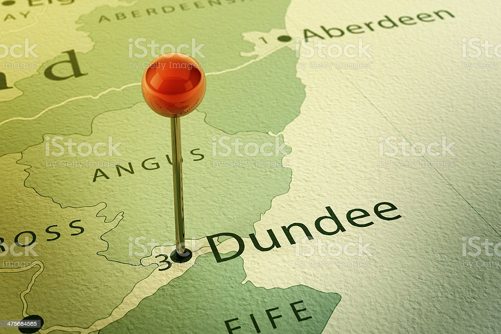 Dundee Map City Straight Pin Vintage stock photo