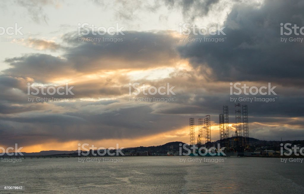 Dundee offshore harbor late afternoon in April month stock photo