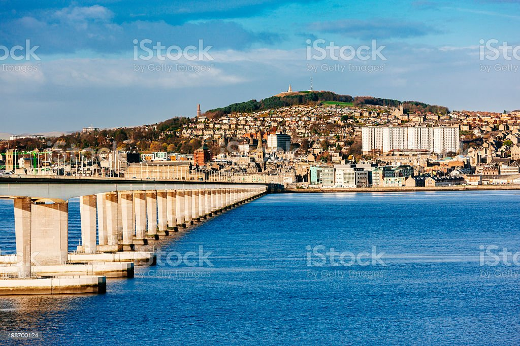 Dundee, Scotland and Tay Road Bridge stock photo