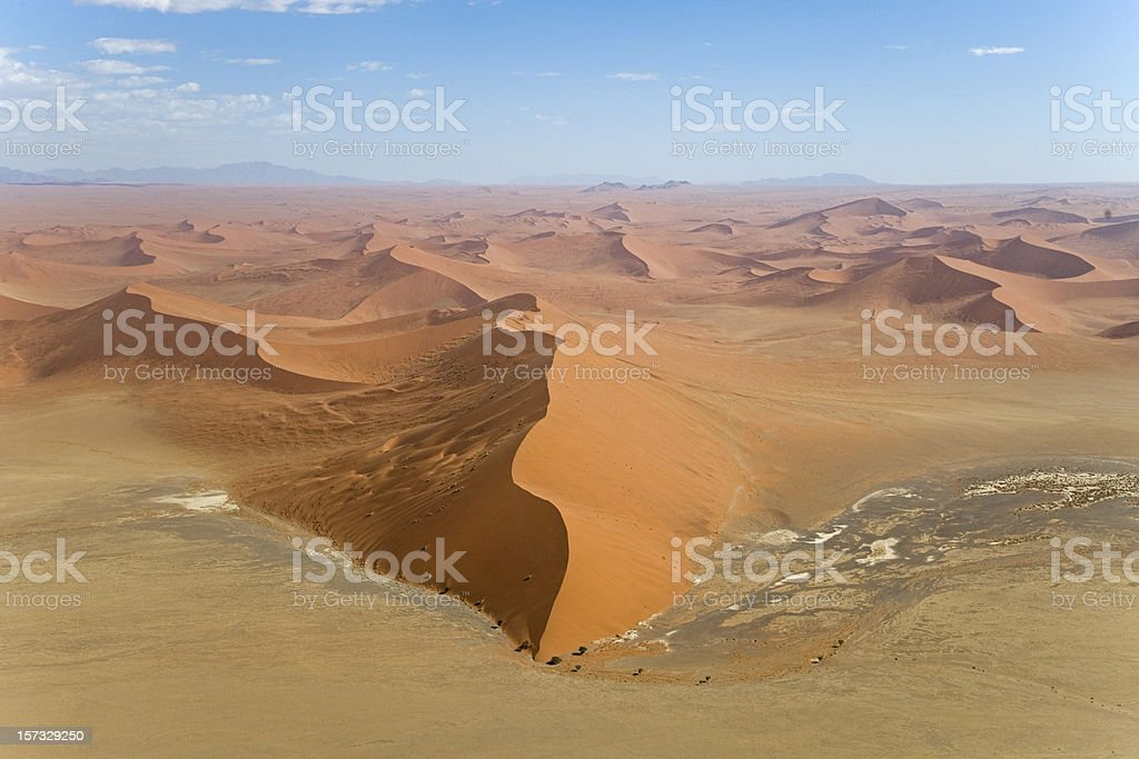 Dune 45 Sossusvlei Desert Sand Dunes (Aerial View) stock photo