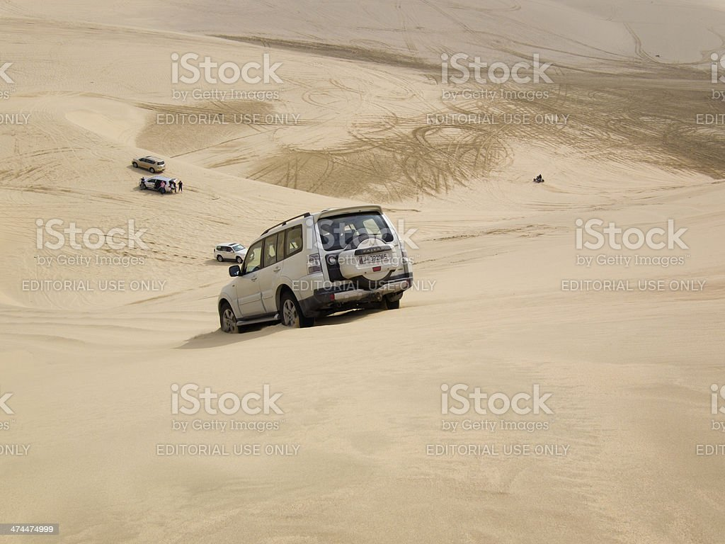 Dune bashing in the desert stock photo