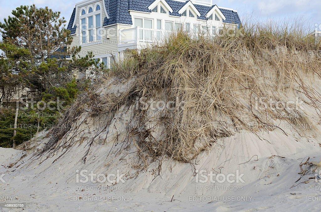 Dune Destruction Resulting from Hurricane Sandy stock photo