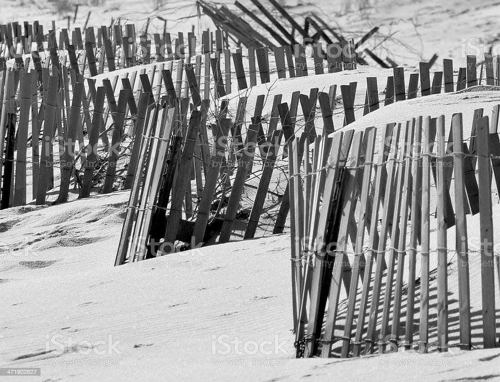 Clôture Dune sur la plage de noir/blanc photo libre de droits