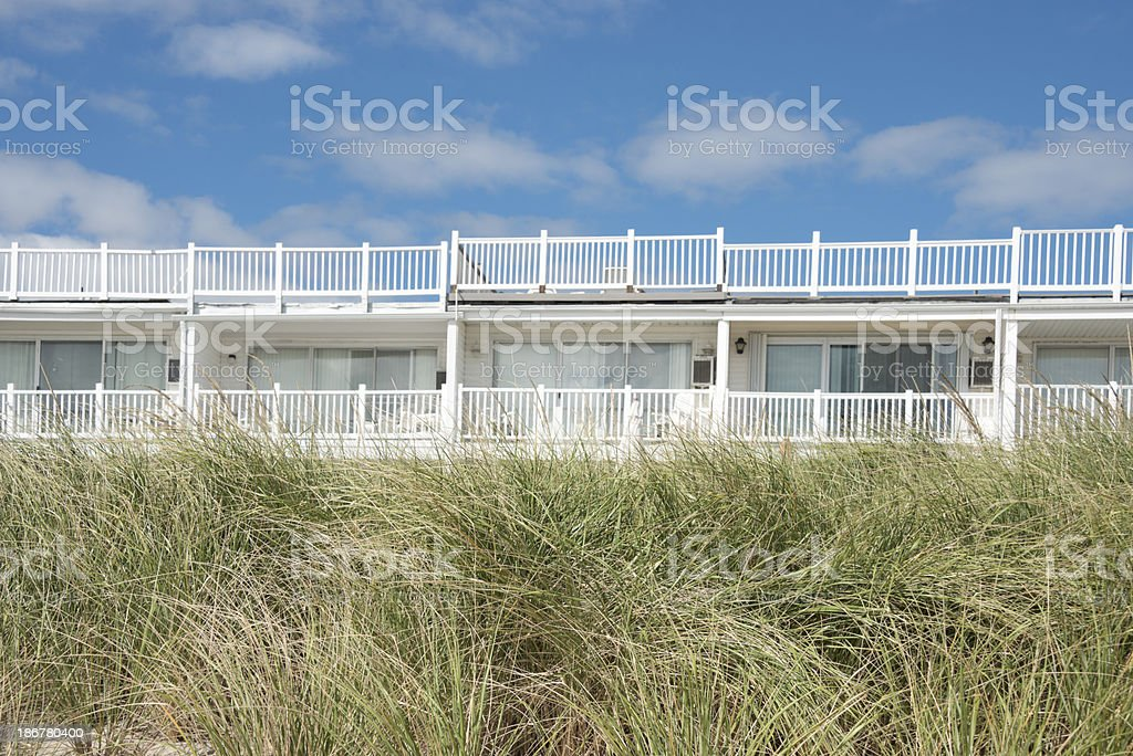 Dune Grass and Beach Vacation Rental Units royalty-free stock photo