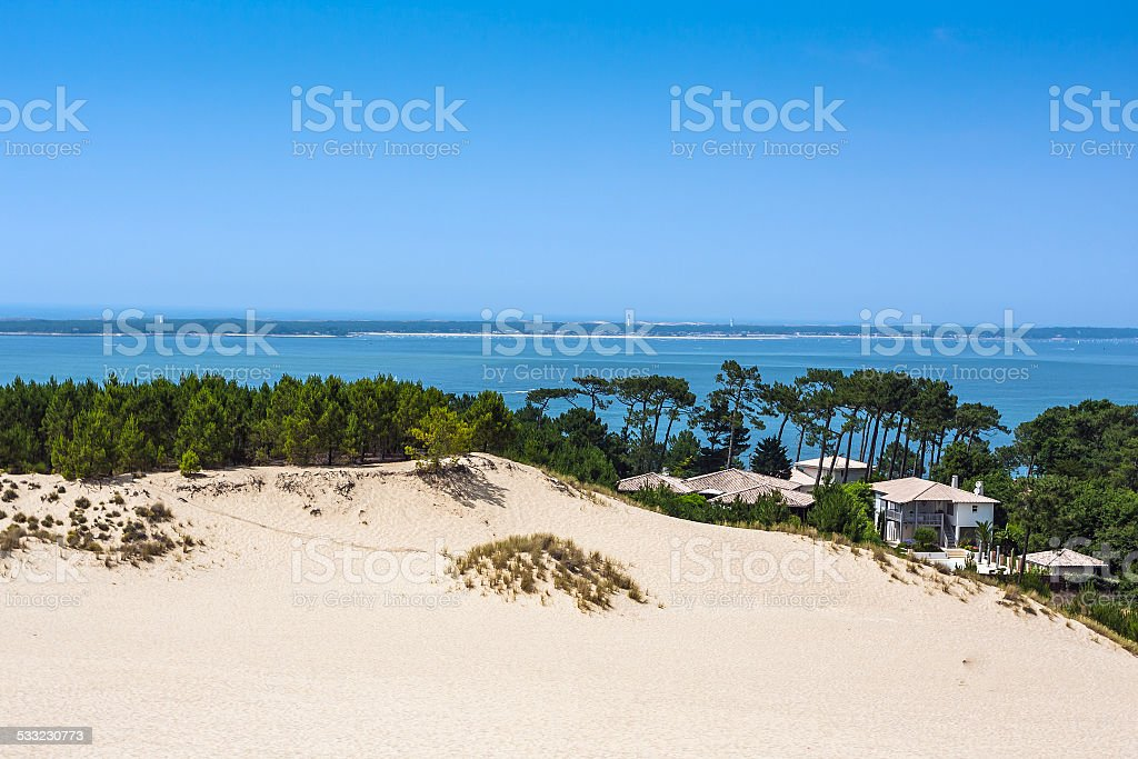 Dune of Pilat. The largest sand dune in Europe, France stock photo