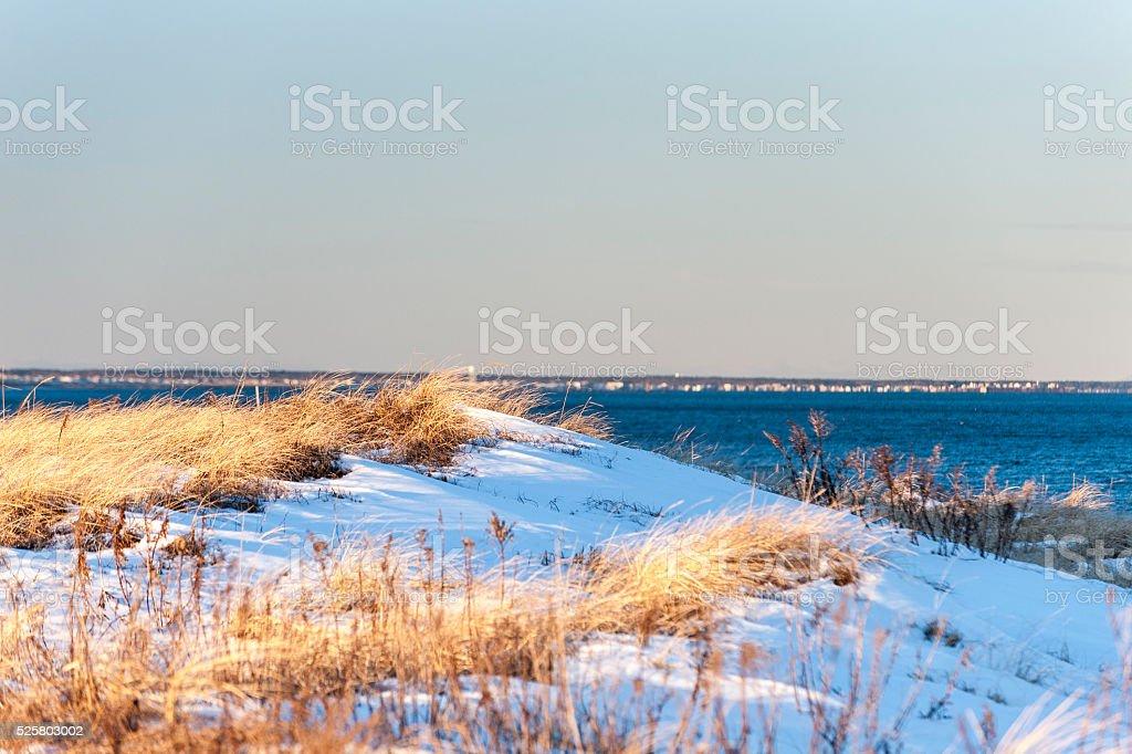 Dune overlooking Massachusetts north shore stock photo