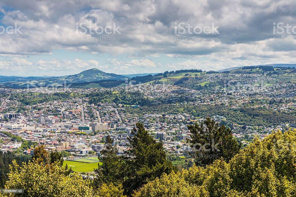 Dunedin seen from the peak of Signal Hill, New Zealand stock photo