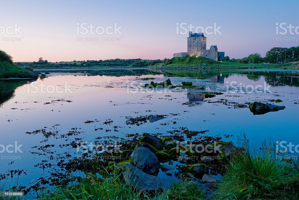 Dunguair Castle at Sunset stock photo