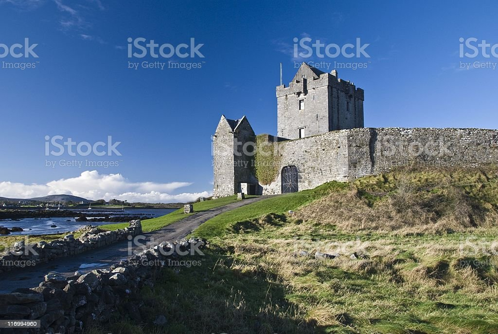 Dunguaire castle at low tide in Kinvara County Galway Ireland stock photo