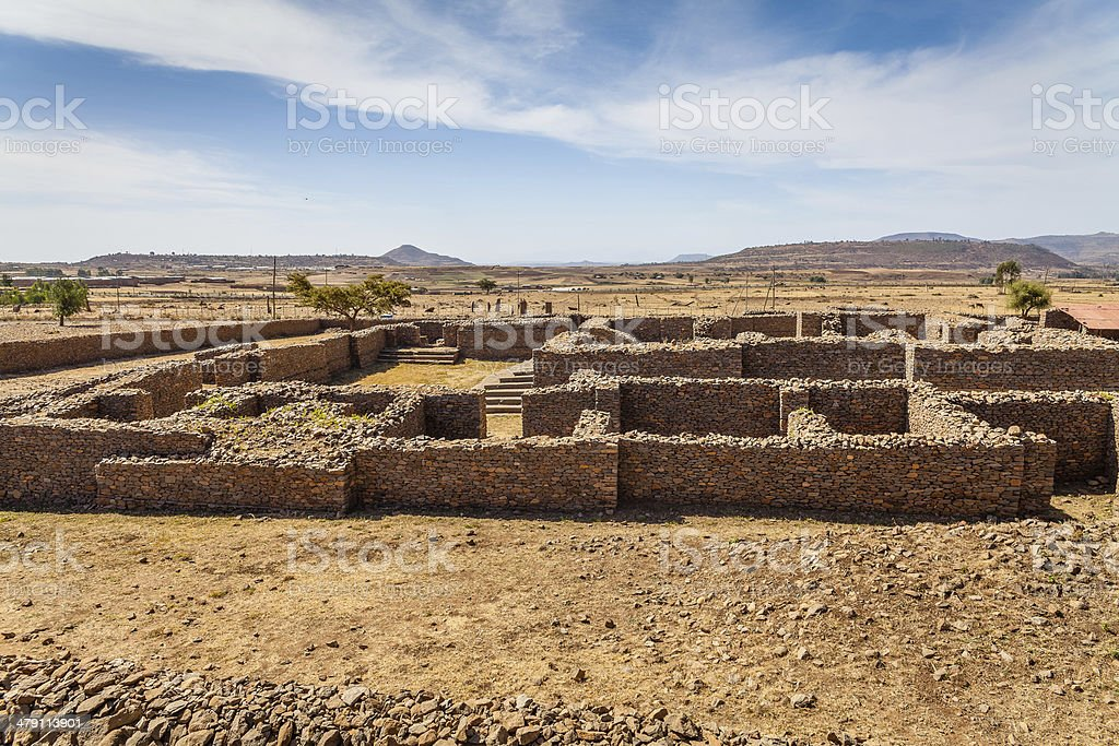 Dungur Palace of the Queen Sheba at Axum in Ethiopia stock photo