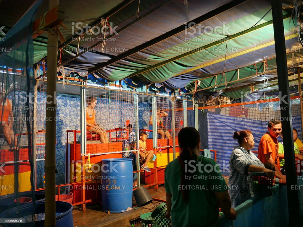 Dunk Tank Game in Temple Fair, Thailand stock photo