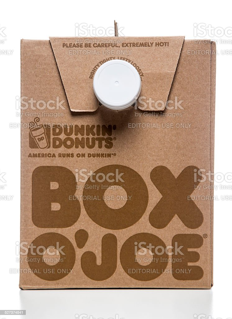 Dunkin' Donuts Box O' Joe front view stock photo
