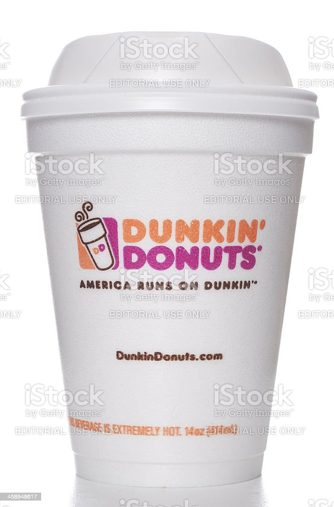 Dunkin' Donuts foam cup for hot drinks stock photo
