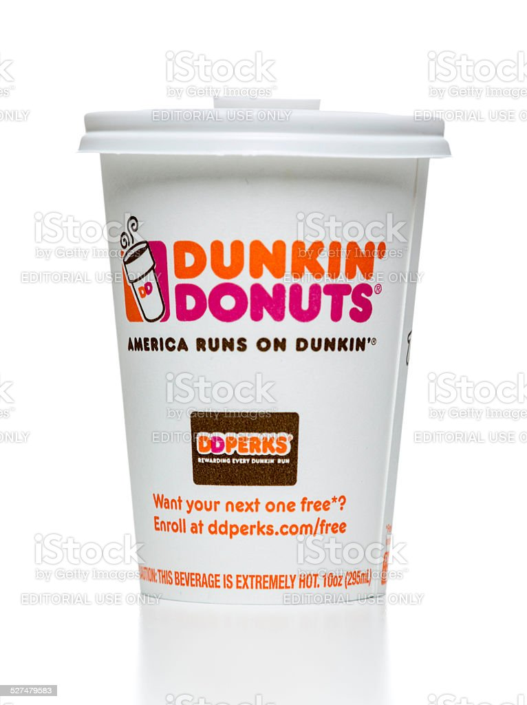 Dunkin' Donuts hot coffe cup stock photo