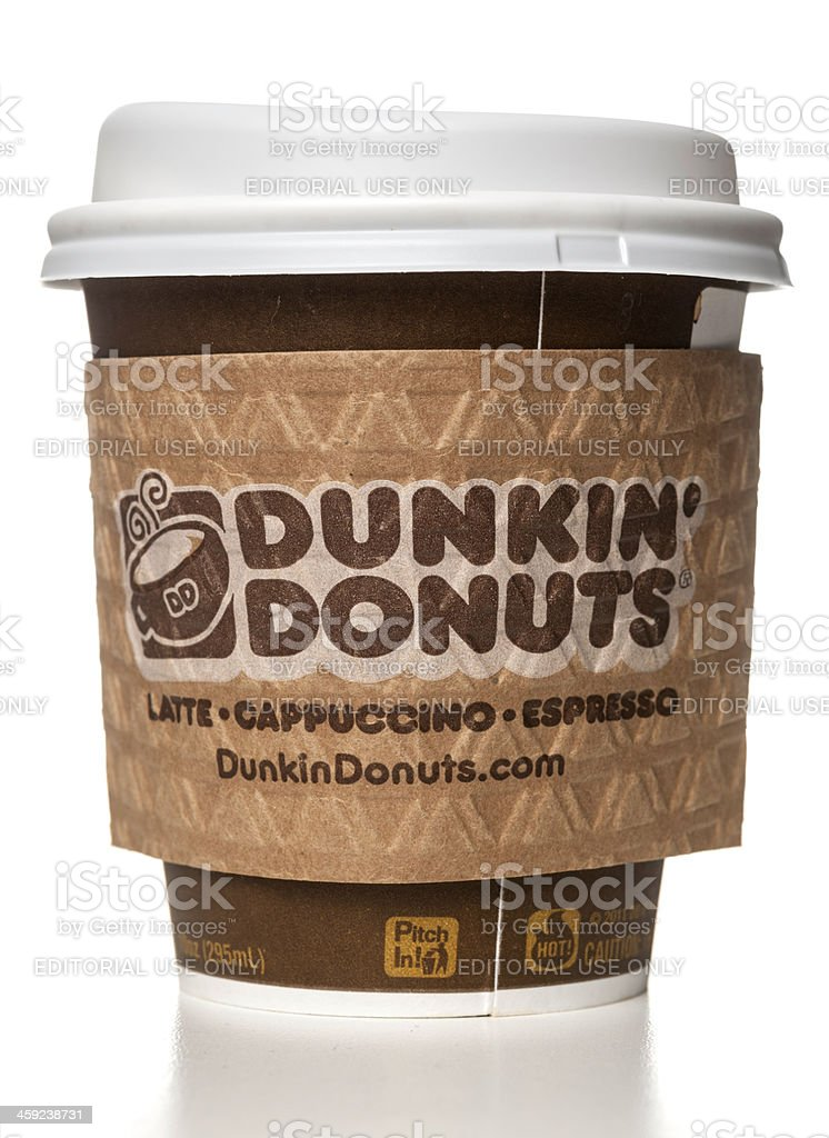 Dunkin' Donuts latte capuccino espresso cup with holder stock photo