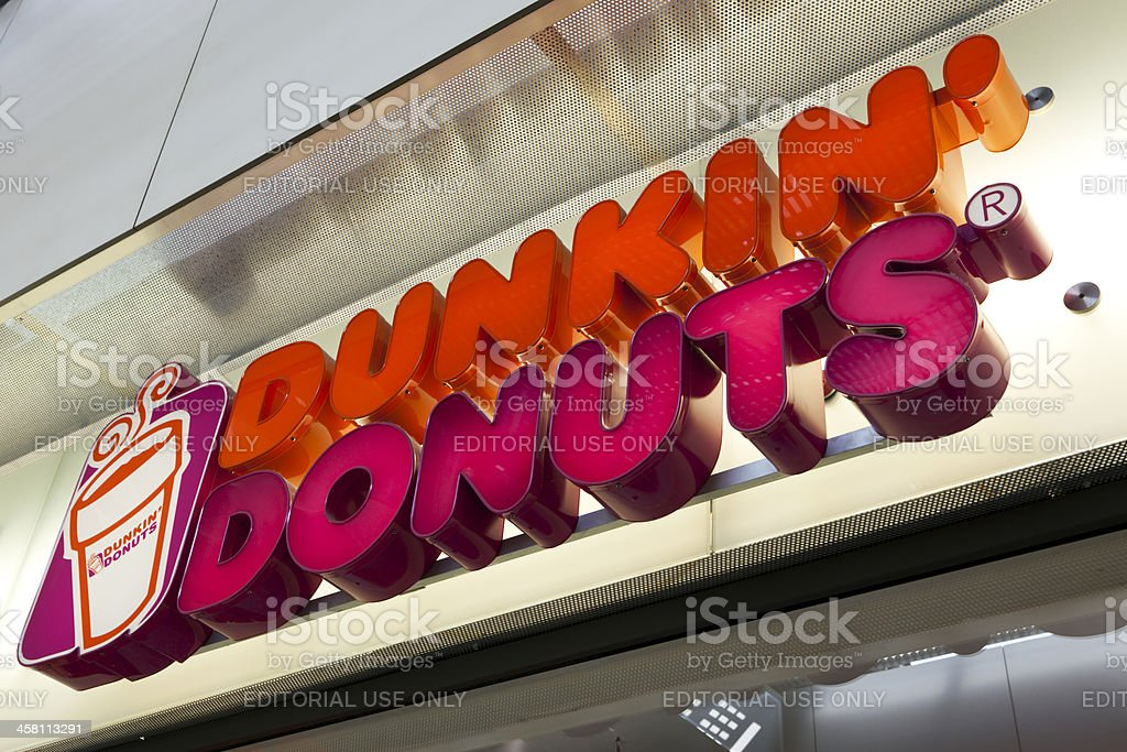 Dunkin' Donuts shop sign stock photo