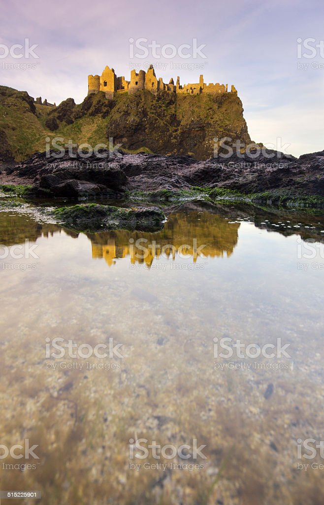 Dunluce Castle in early morning light, reflected in a seaside puddle. stock photo