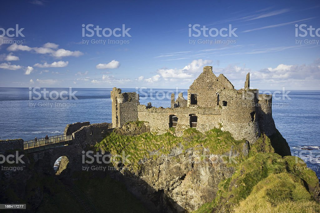 Dunluce Castle on a beautiful sunny afternoon. stock photo