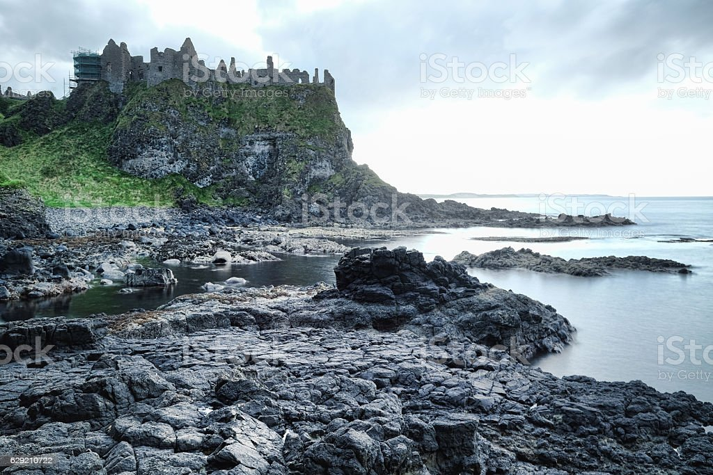 Dunluce castle on edge of cliff stock photo