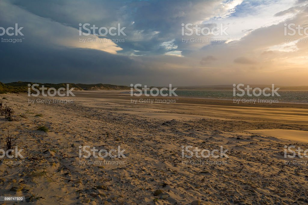 dunnet beach stock photo