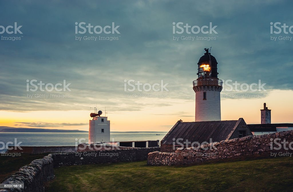 Dunnet Head lighthouse in Scotland stock photo